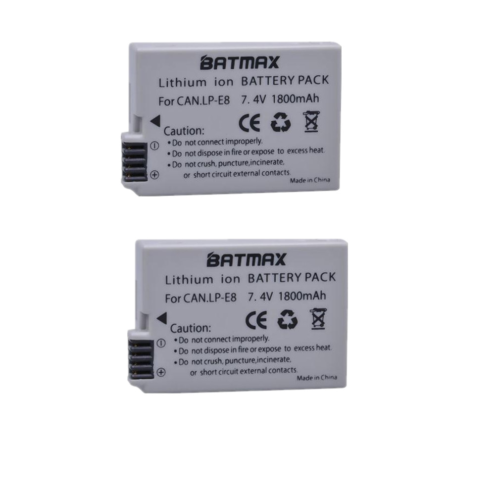 Batmax 2Pcs LP-E8 LP E8 LPE8 Camera Battery for Canon EOS 550D 600D 650D 700D kiss X4 X5 X6i X7i Rebel T2i T3i T4i T5i Batteries