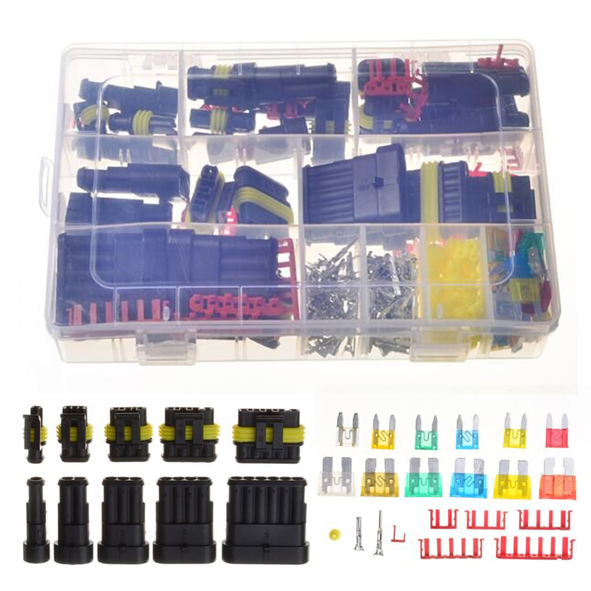 1/2/3/4/5/6 Pin Way Waterproof Car Electrical Connector Terminals + Automotive Standard Blade Fuse Fuses Set For Car Truck 30 sets superseal amp tyco 1 5 kit 1 2 3 4 5 6 pin female male waterproof electrical wire cable automotive connector car plug