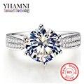 Galaxy 100% 925 anillos de bodas de plata para las mujeres con la Estampilla S925 2 Quilates CZ Diamante Anillos de Compromiso Joyería de Las Mujeres YH110