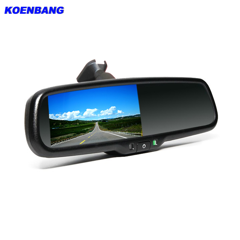"KOENBANG 4.3"" TFT LCD Color Car Rear Rearview Mirror Monitor with Special Original Bracket 2 Video Input for Parking Assitance-in Car Monitors from Automobiles & Motorcycles    1"