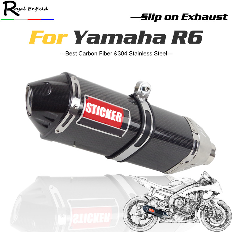 R6 fz6 Motorcycle slip on Exhaust muffler Carbon Fiber muffler with DB killer baffle For Yamaha R6 fz6 kappa дуги безопасности для fz6 fz6