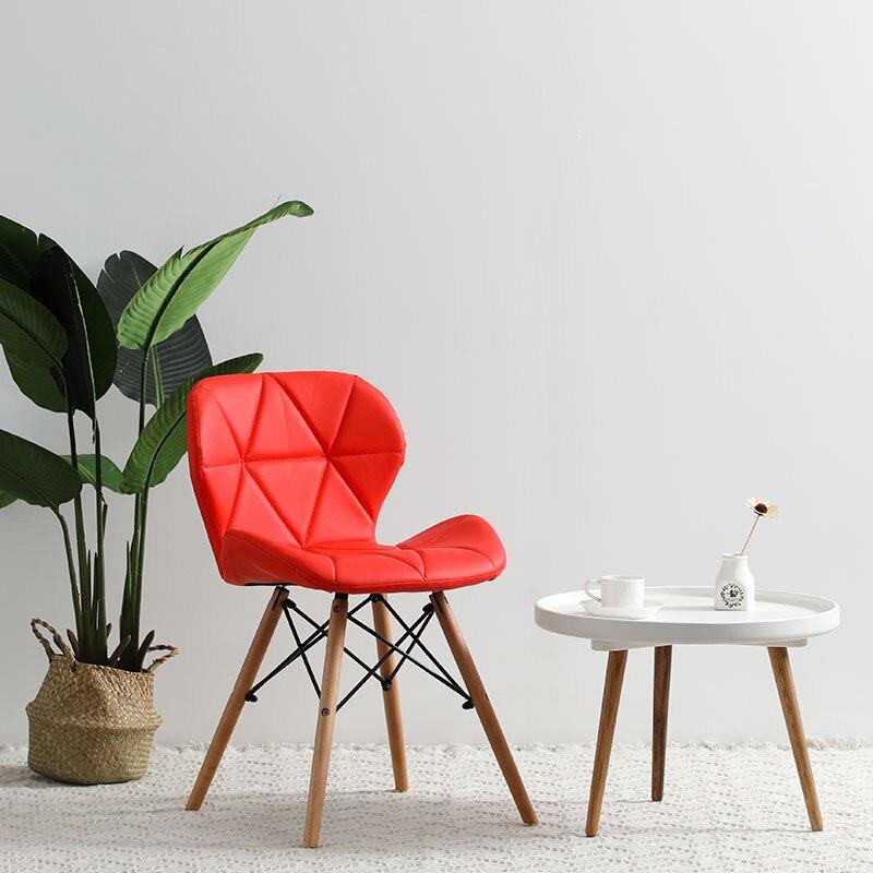 Современный минималистичный стол компьютерный стул домашний Ресторан обеденный стул из твердой древесины скандинавский диван спинка макияж пляж - Цвет: E