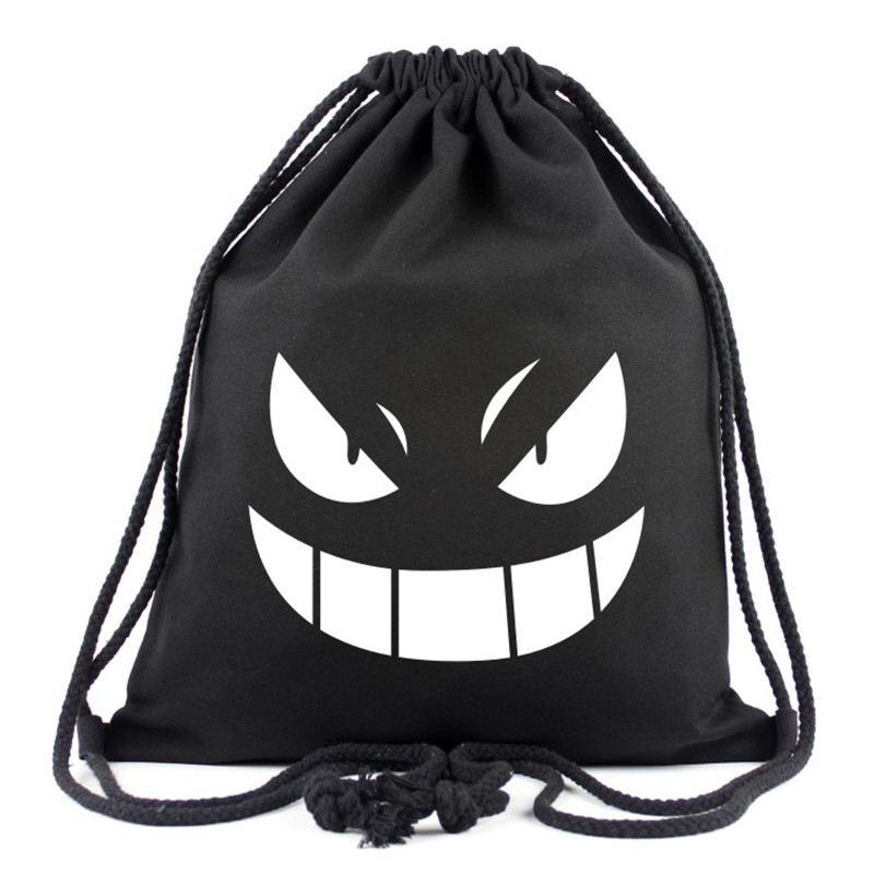 2017 New Anime Pokemon Gengar Canvas Drawstring Bag Multicolors Backpacks Casual Travel Bags Monster Eyes Bags Teenagers Mochila new fashion game pokemon backpack anime pocket monster school bags for teenagers gengar bag pu leather backpacks rugzak