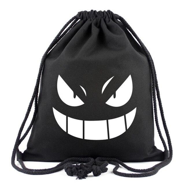 84d69bab8d20 2017 New Anime Pokemon Gengar Canvas Drawstring Bag Multicolors Backpacks  Casual Travel Bags Monster Eyes Bags