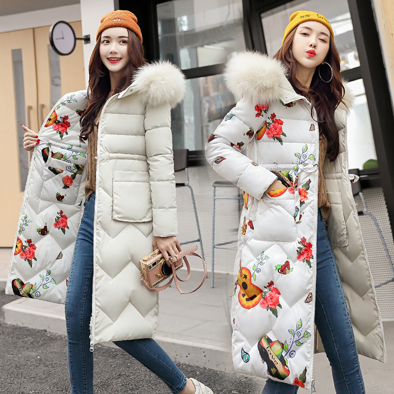 2018 Fashion Winter Jacket Women Slim Solid Fur Hooded Both Two Sides Wear Ladies Long Parkas