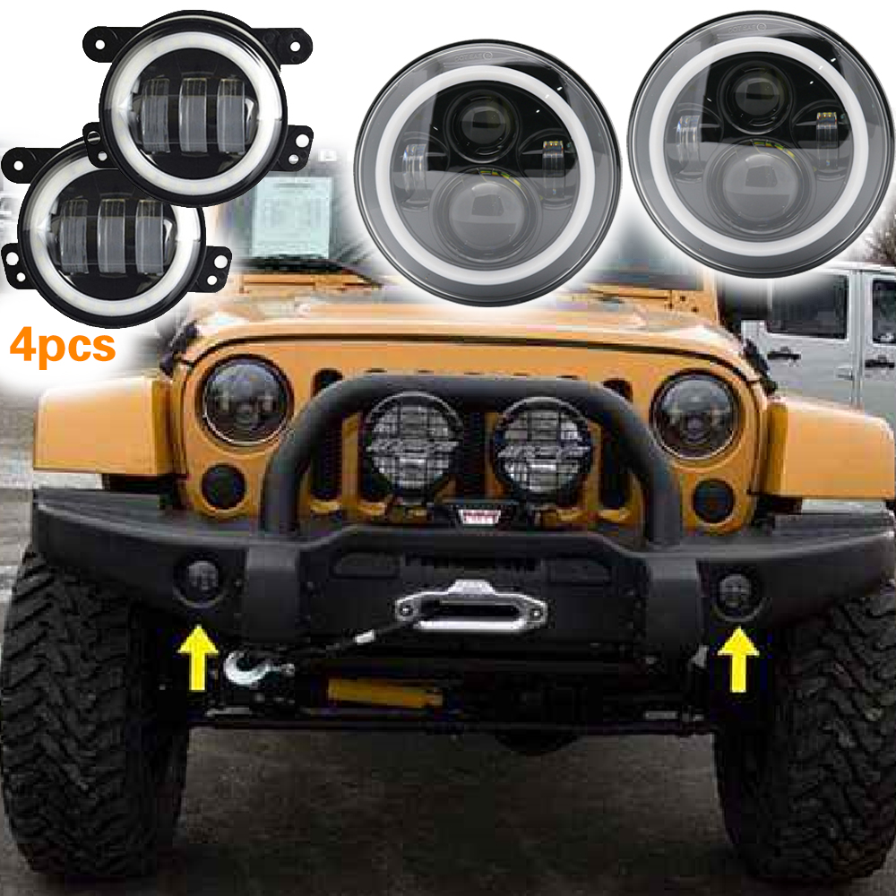 7inch LED Headlights with White DRL/Amber Turn Signal + 4inch LED Fog Lights with White DRL Halo Ring for Jeep Wrangler JK LJ Tj pair 7 inch round daymaker led headlights with white halo ring angel eyes amber turn signal for jeep wrangler jk tj