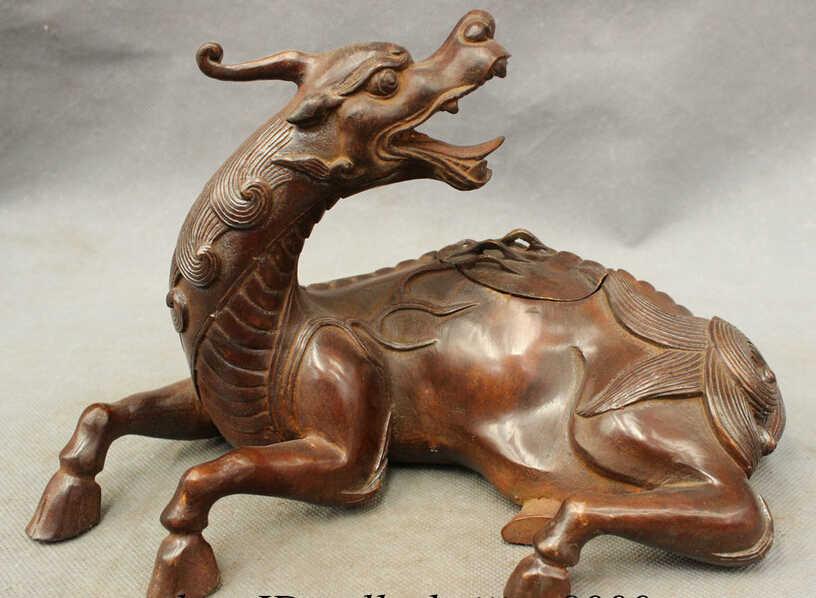 """SCY JP S62 10 """"Chinese Bronze FengShui Bestia Unicorn PiXiu Lion Statua Bruciatore di Incenso Censer"""