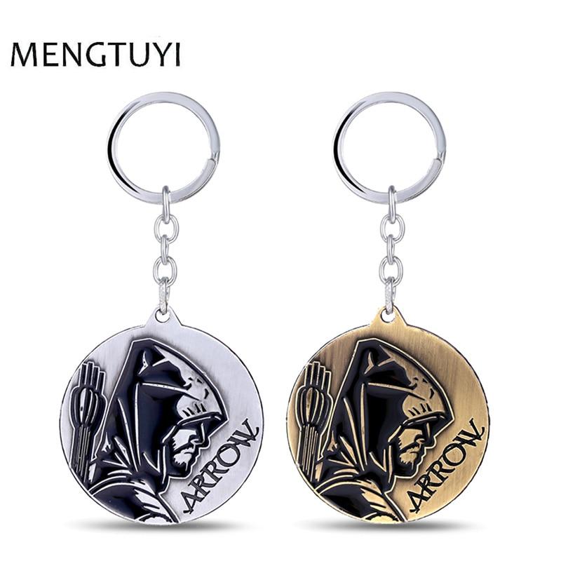J Store Superhero Series Green Arrow Logo Keychain Metal Silver Bronze Key Chains For Fans Men Car Chaveiro Llaveros Souvenir