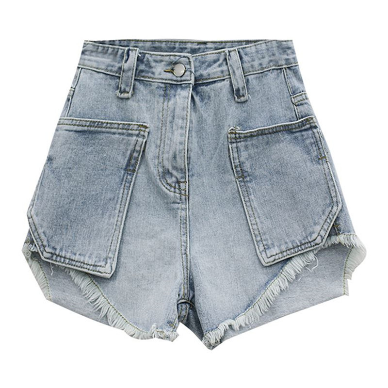 Fashion Summer Female Vintage High Waist Ripped Washed Scratched Hole Jeans Shorts Women Denim Shorts