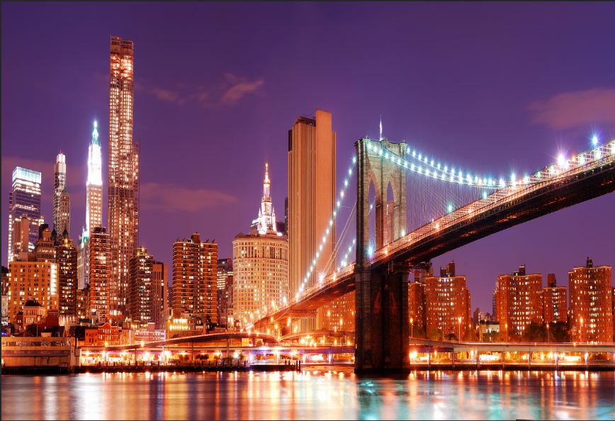 5x7ft San Francisco Skyline Night River Golden Gate Bridge