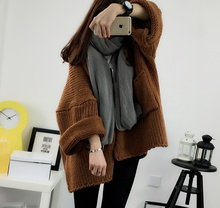 Women Sweaters Striped Cardigans Casual Thickening Loose Bat Sleeve Knit Long-sleeved Jacket White Yellow Brown As1608