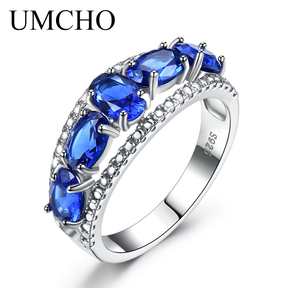 UMCHO Genuine Solid 925 Sterling Silver Ring Blue Sapphire Tanzanite Topaz Engagement Rings For Women Fine Jewelry With Gift BoxUMCHO Genuine Solid 925 Sterling Silver Ring Blue Sapphire Tanzanite Topaz Engagement Rings For Women Fine Jewelry With Gift Box