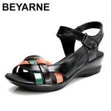 BEYARNE 2018 letnie damskie sandały z prawdziwej skóry kliny buty z otwartym noskiem wygodne sandały damskie buty dla matek plus rozmiar (35 42)