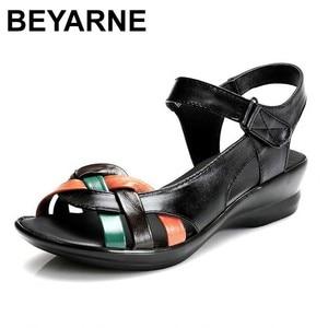 Image 1 - BEYARNE 2018 קיץ נשים אמיתי עור סנדלי טריזי נעליים נוח נשי סנדלי נעלי אמא בתוספת גודל (35 42)
