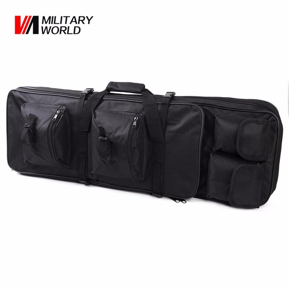 цена на 85CM Tactical Dual Rifle Bag + Shoulder Strap Airsoft Hunting Gun Backpack Handbag Case Magazines Accessories Pouch