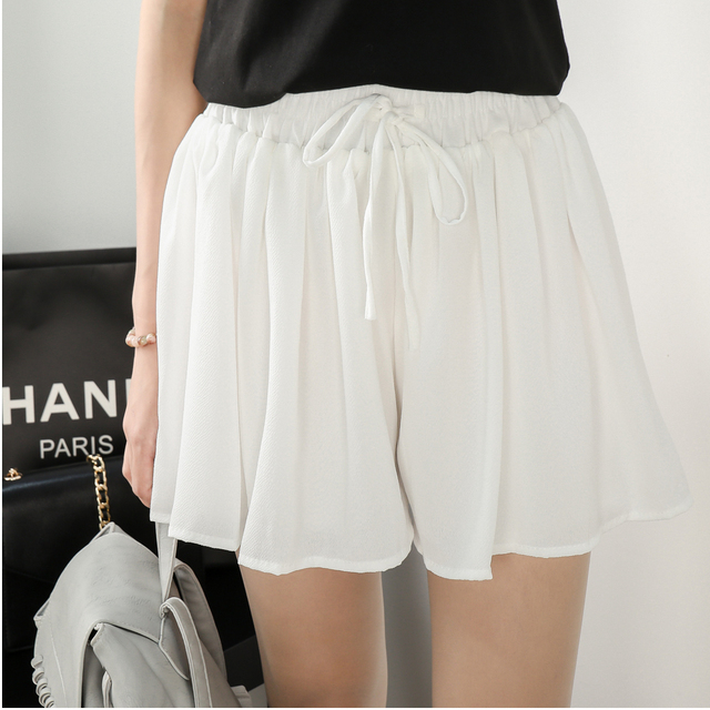 4xl más el tamaño grande shorts mujeres 2016 verano estilo coreano vestido saia feminina blanco negro gris pantalones cortos de pierna ancha femenina A1230