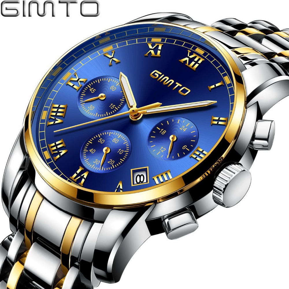GIMTO Luxury Gold Silver Men Watch Brand Quartz Roman Calendar Male Clock Sport Military Wrist Watches 2017 relogio masculino gorben brand classical silver polishing quartz men pocket watch round roman number necklace relogio de bolso gift men watch