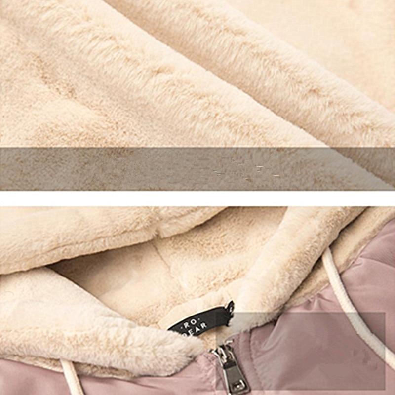 Nouvelles À Harajuku Capuche Grey Rose Laine De pink Manteau Femmes Zipper Coton Ac121 Jacket D'agneau D'hiver Mujer 2019 Poches Baseball S Chaqueta dqvAgd