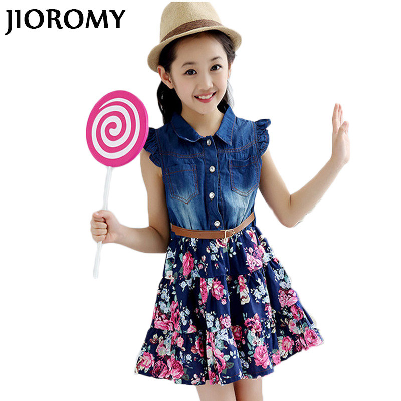 JIOROMY Girls Dress 2018 Summer Cotton Denim Floral Short Sleeve Princess Buttons Belt Dresses for Girls Kids Clothes Clothing