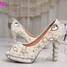 Fashion Ivory Pearl Dress Shoes Peep Toe Women Rhinestone Bridal Shoes Wedding High Heel Shoes Party Prom Shoes 4 Inches Heel