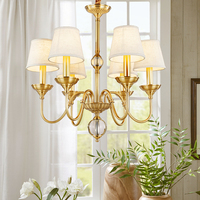 American contemporary copper chandelier all French restaurant bedroom lamp light crystal droplight
