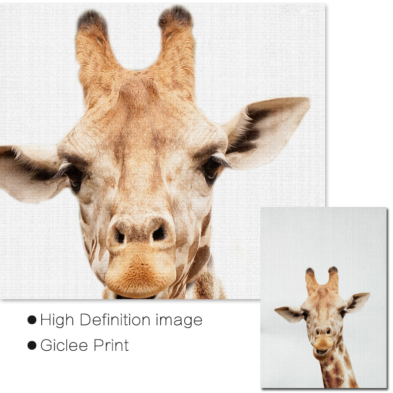 Giraffe Print Animal Wall Art Nursery Decor Woodland Animals Canvas Painting Unframed Posters And Prints Kid Bedroom Decoration