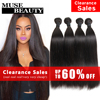 10A Unprocessed Indian Virgin Hair Straight 4 Bundles Muse Beauty Hair Products Indian Straight Hair Weave Human Hair Extensions