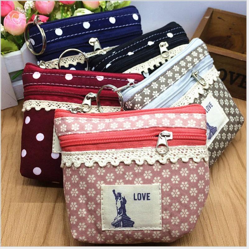 цены  New Korea Lace Fabric Coin Purse Little Girl Floral Dot Key Bag Women Creative Double Zipper Canvas Wallet Female Mini Purses