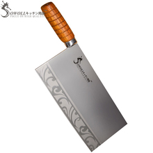 Professional Meat Cleaver Knife- Chinese Advanced Handmade Chopping Knife Good Quality Wood Handle Stainless Steel Kitchen Knife