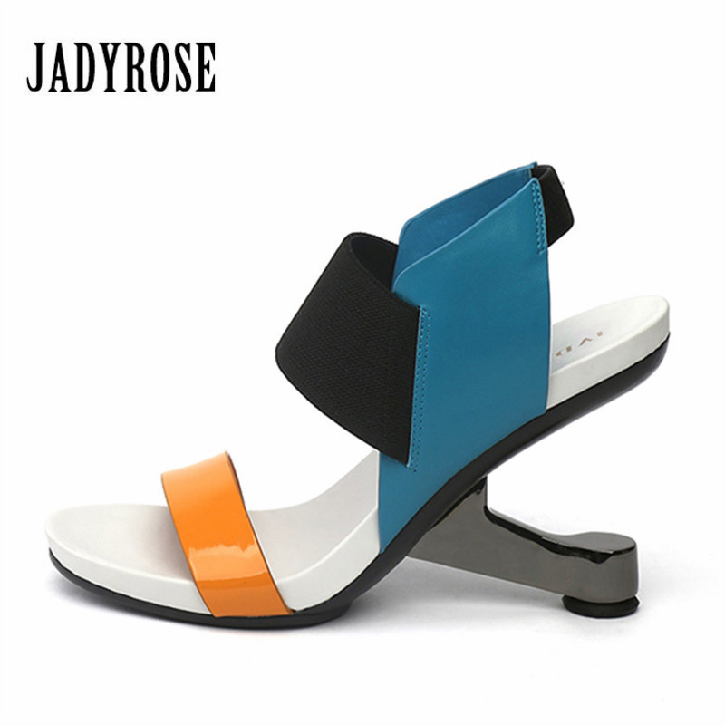 Jady Rose 2018 Fashion Women Gladiator Sandals Leather Pumps Footwear Female Wedding Shoes Woman's New Strange High Heels Wedges цена