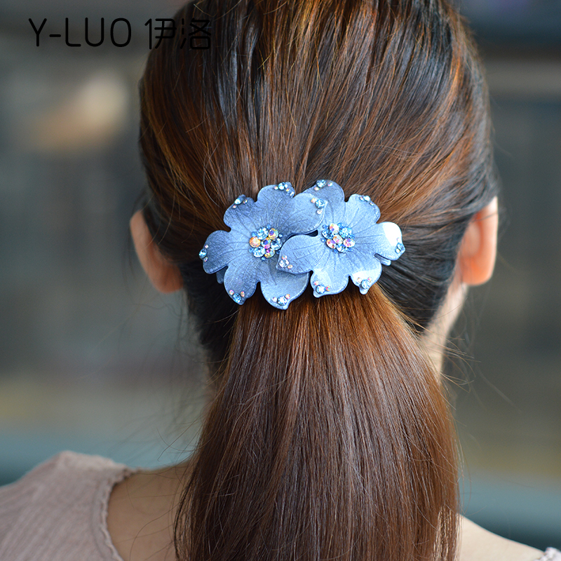 Women Hair Accessories Barrette Flower Hair Band  Vintage Arcylic Crystal Hair Clip