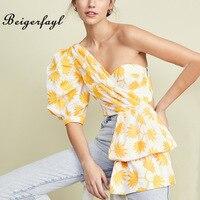Beigerfayl 2019 Summer New Yellow Flora Print Women Shirt Fahion Short Sleeve Irregerlar Puff Sleeve Blouse for Women TBL19152