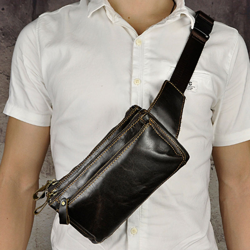 YIANG Men Genuine Oil Wax Leather Fanny Pack Waist Bag Real Cowhide 9 Inch Cell Phone Case Belt Purse Pouch Male Chest Bag