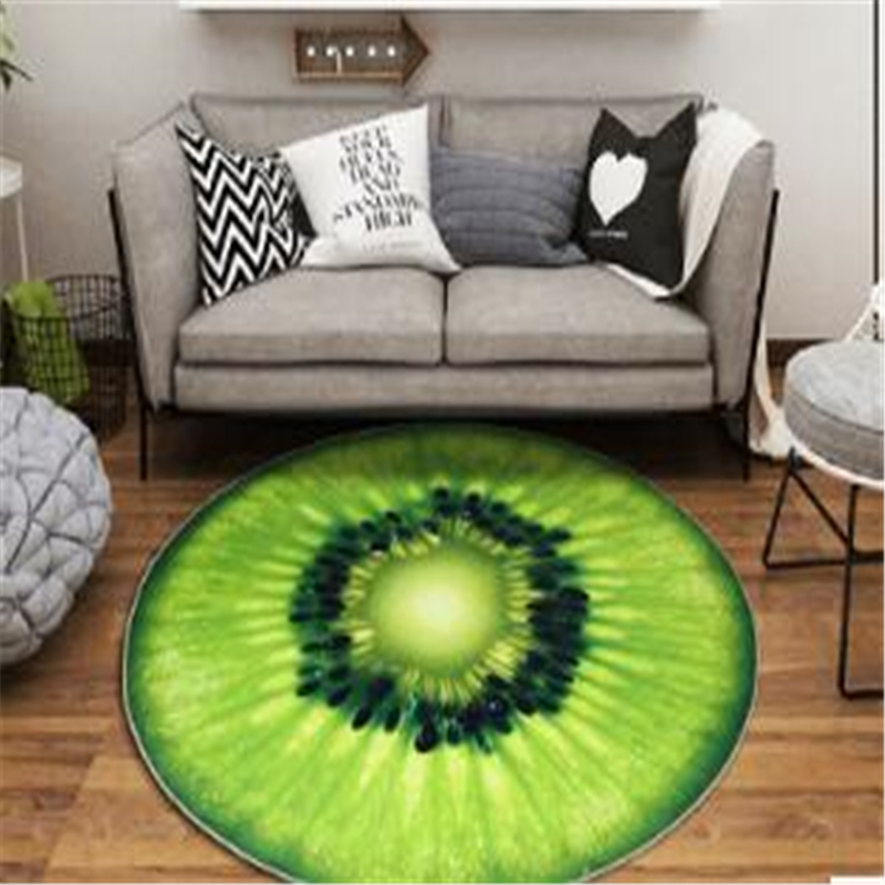 AOVOLL Cartoon Carpets Carpets For Living Room And Bedroom Round Fruit Carpet Floor Mats Carpets For The Modern Living Room