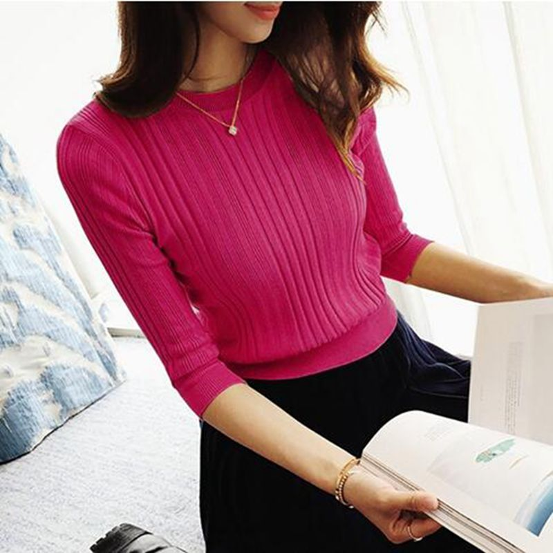OHCLOTHING The new 2017 half sleeve cotton Crewneck sweater female sleeve head sleeve shirt five solid tight sweater thin repair