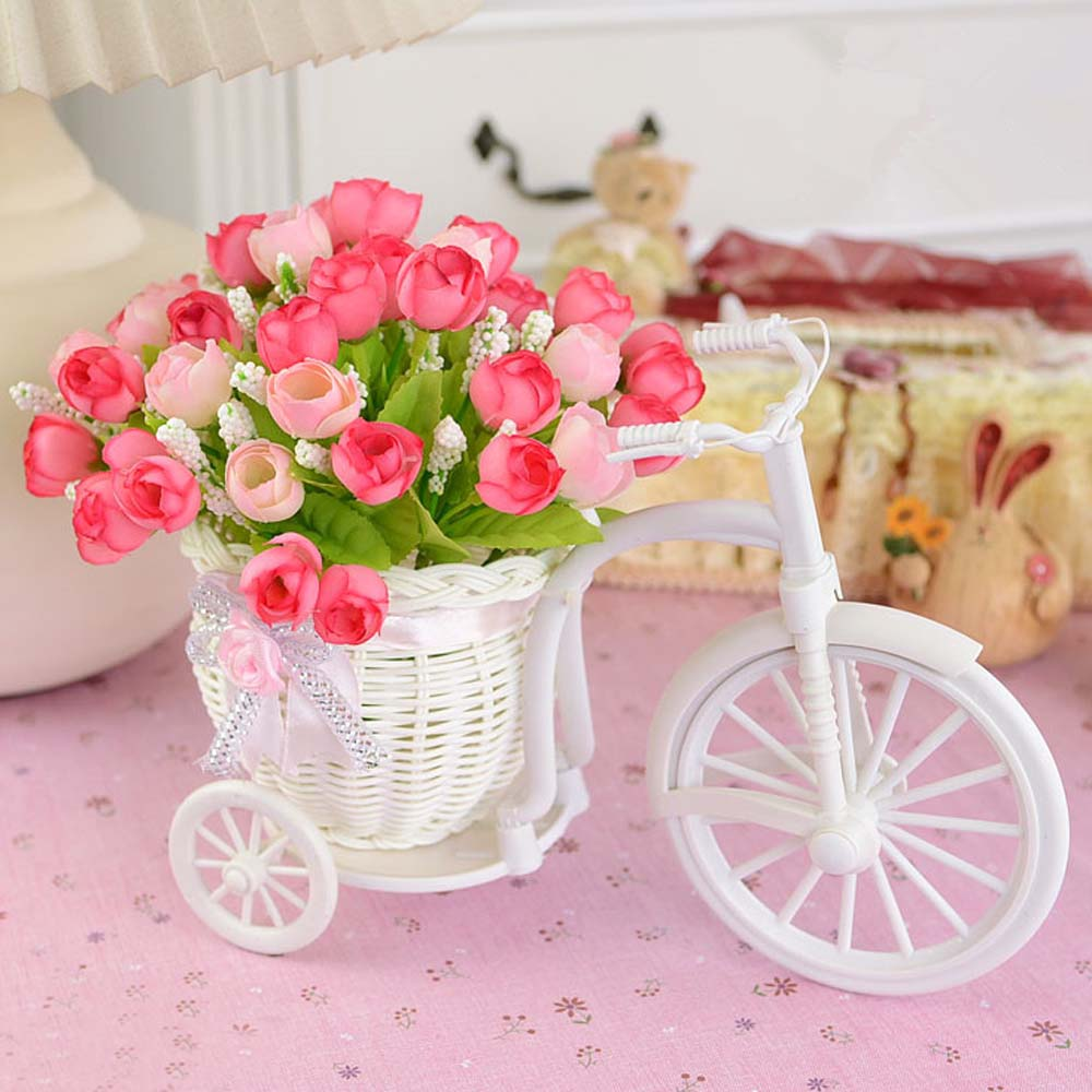 Wedding Party Decoration White Plastic Tricycle Bike Flower Pot ...