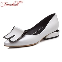 FACNDINLL Genuine Leather Women Pumps Shoes 2018 New Spring Summer Low Square Heel Pointed Toe Women