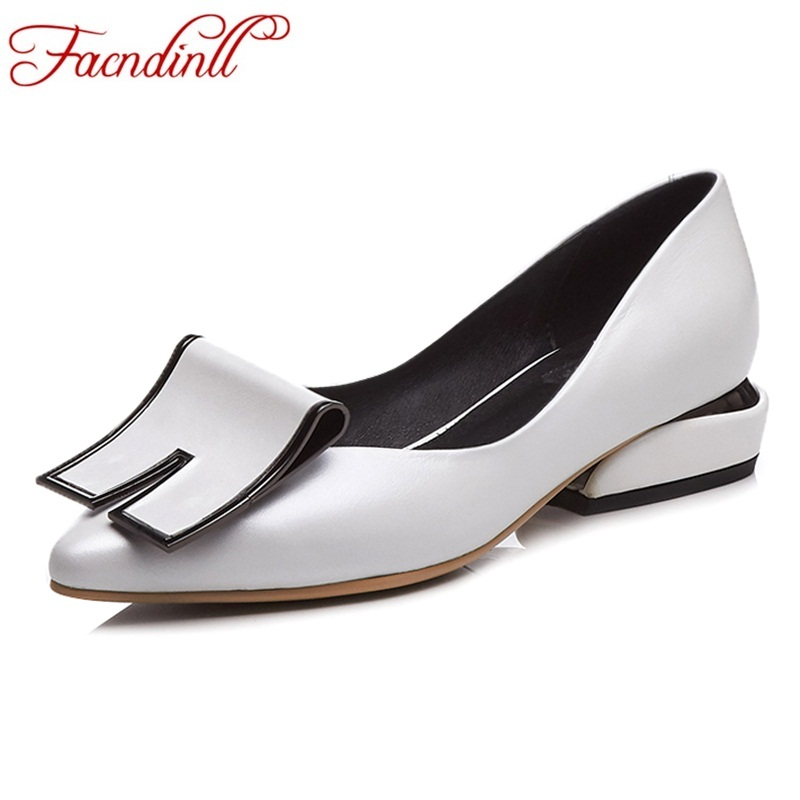 FACNDINLL genuine leather women pumps shoes 2018 new spring summer low square heel pointed toe women dress casual pumps shoes facndinll new genuine leather summer