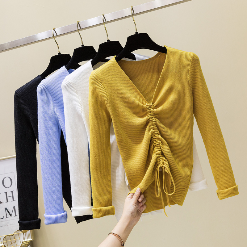dc7e4aace615c US $8.99 40% OFF|New 2019 Spring Drawstring V Neck Sweater Women Ruched  Knitted Pullover Women Sweaters And Pullovers Knit Jumper Ladies Sweater-in  ...