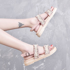 korean style Solid Color strappy heels shoes woman tacones sandalias rhinestone sandals wedges soulier femme new arrival