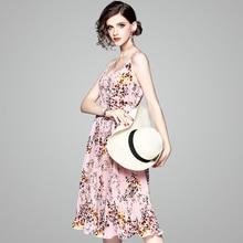 2018 Summer new stylish temperament lady floral pleated chiffon mid-length halter dress 80767