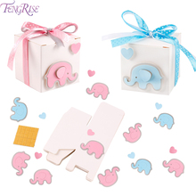 Pink Blue Candy Box Gift Elephant Birthday Party Decorations Kids Baby Shower 1st Boy Girl
