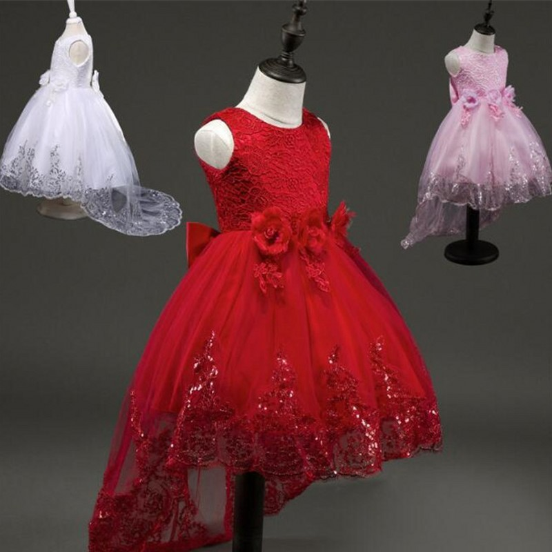 Red Kids Wedding Summer Party Dresses For Girls 2017 Children Clothing Lace Flower Princess Dress Wedding Holiday Christmas summer 2017 new girl dress baby princess dresses flower girls dresses for party and wedding kids children clothing 4 6 8 10 year