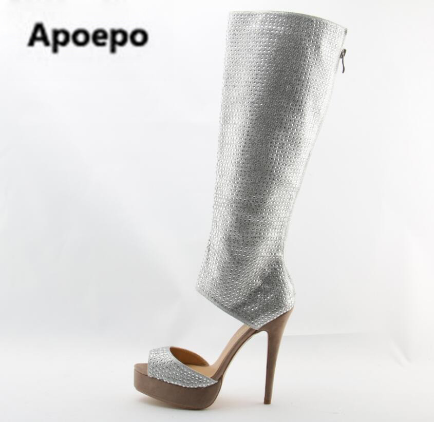 New Fashion Women Open Toe Rhinestone High Platform Gladiator Boots Cut-out Knee High Crystal High Heel Boots Dress Shoes cut out knee leggings
