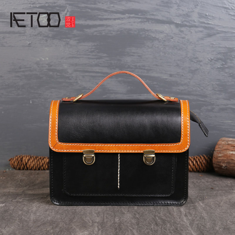 AETOO Europe and the United States fashion spell color leather handbags first layer of leather bag ladies new diagonal cross europe and the new spring and summer leather handbag bag simple cross head layer cowhide temperament mini bag tote bag