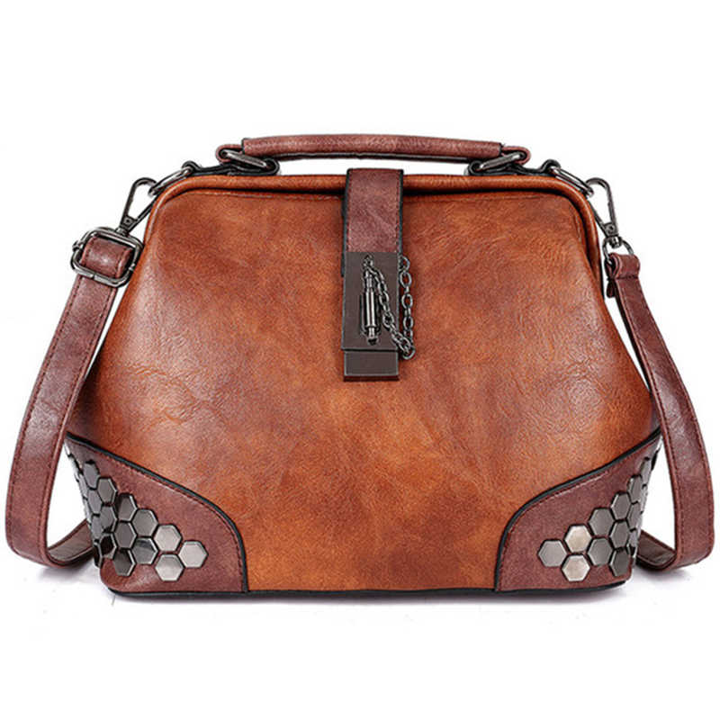 Women Handbag Small Leather Bag  Woman Shoulder Bag Doctor Bag Female Crossbody Handbag Lock Chain Rivets  Vintage Women Bags