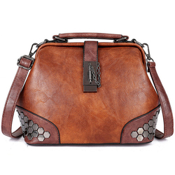 Women Handbag Leather Small Doctor Bag Women Shoulder Bag Female Crossbody Handbag Lock Chain Rivets Girls Vintage Women Bags
