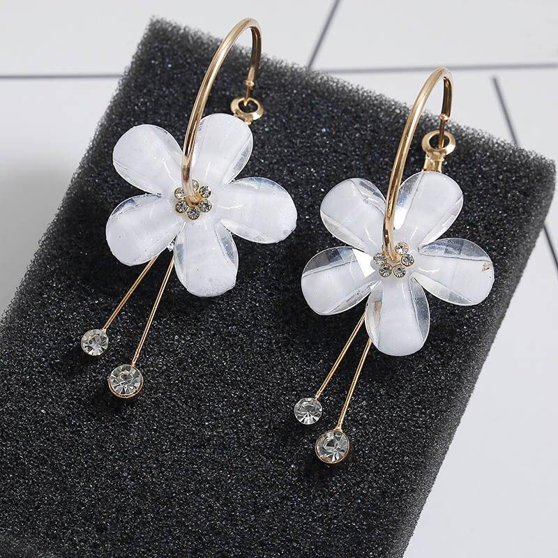 European Design Petal Acrylic Zircon Tassel Earrings Brincos OorbellenTransparent Earrings Women's Earrings