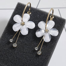 F13 2018 New Korean 6 Petal Acrylic Zircon Tassel Earrings Brincos OorbellenTransparent Earrings Wholesale Women's Earrings(China)