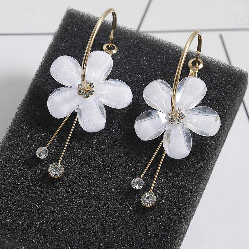 F13 2018 New Korean 6 Petal Acrylic Zircon Tassel Earrings Brincos OorbellenTransparent Earrings Wholesale Women's Earrings